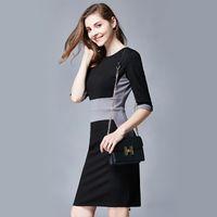 best work wear - 2016 Autumn Best Sellers Seven Part Sleeve Show Thin Rendering Skirt Fashion Self cultivation Waist Dress