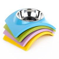 Wholesale HOOPET New dog rainbow Single Bowl drinking Convenient safe anti slip eating folding bowls pet product