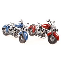 Wholesale Colorful Wrought Iron Motorcycle Model Furnishing Articles Classics Office Home Decoration Gifts Color Blue Red
