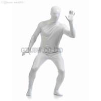 Venta al por mayor-Adulto Hombres Faux cuero blanco brillante brillante Zentai cosplay traje de Halloween Traje Halloween traje Unidad leotard