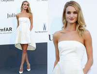 Wholesale Rosie Huntington Whiteley Cannes Celebrity Dresses Satin Strapless Short Front Long Back Mini White Hidden Pockets A Line Prom Gowns