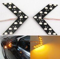 Wholesale 2pcs Amber Arrow Panel SMD LED Car Side Mirror Turn Signal Indicator Light CA