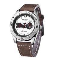 auto simple - MEGIR Mens Simple Casual Luxury Auto Mechanical Military Sports Retro Chronograph Waterproof Stainless Alloy Leather Quartz Watches