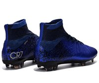 Wholesale New CR7 cleats X SUPERFLY IV Royal blue Men s soccer shoes customize name and No football boots