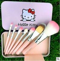Cheap Hello Kitty 7 Jian Makeup Brush set professional Makeup tools portable storage box full set of factory outlet free DHL