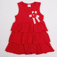 Wholesale 2016 New Girl s Solid Dress Cotton Red Summer