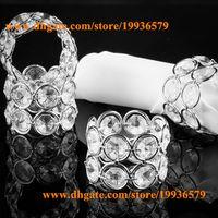 Wholesale Bling metal crystal beaded bling bling napkin rings Serviette Holder silver or gold for wedding table decoration