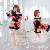 short kimono - The Lady Lovely Floral Kimono Sexy Luru Kimono Play Long Sleeves Free Black And White Short Skirt B