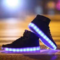 sneakers - New LED Light Up Shoes Men Women Glowing Sneakers Fashion Light up Shoes Flats High top Adults Luminous Black Shoes