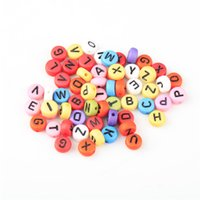 arabic numeral numbers - Acrylic Alphabet Letter Coin Round Arabic Numerals Spacer Beads Findings Fit for DIY Bracelets Making Random Color