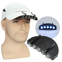 Wholesale 5Leds Cap Hat Light Clip On LED Fishing Camping Head Light HeadLamp Cap with Retail Package
