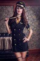 airline pilot uniform - Fantasia Sexy Uniform Hot Pretty Pilot Costume Black Airline Hostess Halloween Costume Stewardess Suit Fancy Role Play