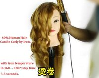 Wholesale CM Mixed Human Hair training head can be iron curly Hairdressing Mannequin High Quality