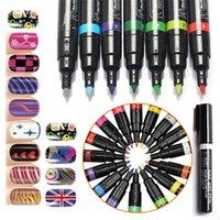 Wholesale 16 Colors Nail Art Pen D DIY Nail Art Decoration Polish Painting Dot Drawing UV Gel Design Beauty Nail Art Tools