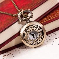 Wholesale Paradise Hot New Hot Fashion Retro Bronze Quartz Pocket Watch Pendant Chain Necklace May19