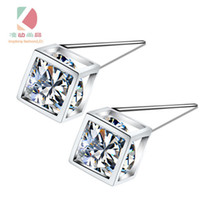 Wholesale lingdong fashion brand Cube Earrings Pure Sterling Silver Plate AAA Zircon mosaic Earrings For Women Accessories gift