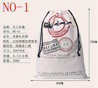 bags l - New Arrive styles Large Canvas Santa Claus Drawstring Bag With Reindeers Christmas Gifts Sack Bags