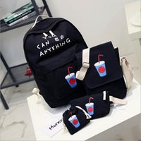 Wholesale 2016 Canvas Backpack School Bags For Teenagers Girls Student High Quality Cartoon Coke Printing Ladies Sets Free shoping