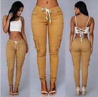 Wholesale Europe Women Pants Big Girl Casual Pants Women s Clothing Sexy Briefs Fashion Multi Pocket Trousers A72704