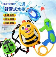 Wholesale 2016 hot sale Summer Toys Child Penguin Bee Rodolia pumila Backpack Nozzle Water Gun Toy Air Pressure Water Gun Summer Beach Hot Selling