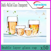 Wholesale 50pcs Brand New Durable Transparent Double Layer Heat resisting Glass Mug Coffee Milk Tea Cup Gift YX BZ