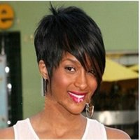 black women wigs - 2016 New Arrival Black B color Hot Short Straight Synthetic Wig Side Bang Wigs Full Wig for Black Woman