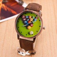 antique billiards - New Fashion Colorful Ball Casual Quartz Watches Men Women Dress Watch Billiards Electronic Vine Style Wristwatches Clock Multicolor