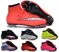 beauty high boots - 2016 Childrens soccer cleats Kids Boys Superfly CR7 Football Boots Mens High Ankle Soccer Shoes FG women Girls Savage Beauty football Cleats