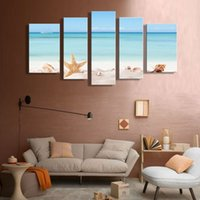 beach picture frames - 5 Pieces Canvas Printings Seascape Starfish on Beach Picture Printed On Canvas Decorate Living room Wooden Framed