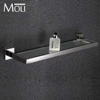 bathroom accessories glass shelf - Bathroom glass shelf square polished stainless steel bathroom accessories towel shelf