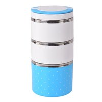 Wholesale Portable Stainless Steel Lunchbox Thermal Insulation Bento Lunchbox Round Tableware Easy Open Food Box Monolayer Layers
