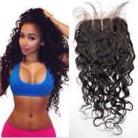 Cheap Water Wave Wet and Wavy Silk Base Closure 4x4 natural black virgin malaysian human hair silk closure