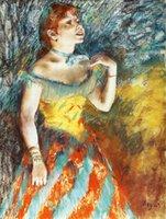 art concert posters - figurative art posters canvas painting mural prints Edgar Degas La Chanteuse verte chanteuse de cafe concert Pastel sur papier