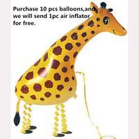 balloon animals giraffe - Foil Balloons Party Decoration x46 cm Walking Giraffe Cartoon Animal Balloons Aluminum Film Balloons Children Gifts Party Supplies