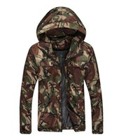 Wholesale High quality men s spring and autumn jacket zipper hooded cotton thin coat of cultivate one s morality fashion outdoor camouflage plus siz