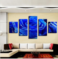 beautiful roses pictures - 5 PANE Beautiful blue roses Hot Sell The Family Decorates Print in The Oil Painting On The Canvas Wall Art Picture