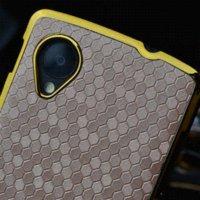 Caso duro del estilo de negocios de lujo cuadrado de la cuadrícula borde cromado para LG Google Nexus 5 E980 D820 D821 plástico del teléfono móvil casos de la cubierta