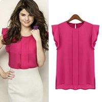 Wholesale Women s T shirt plus size summer Short sleeved chiffon shirt jacket t shirt fashion sexy Bohemia t shirt New pattern