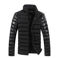 Wholesale Fall Winter New Style Leather Sleeve Splicing Man Winter Men Down Coat Parka Warm Down Bag Mail Winter Jacket Men Brand Long