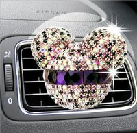 Wholesale Car styling Mickey Minnie Crystal Diamond perfume original auto perfumes Air Freshener Car Air Conditioning Vent Clip