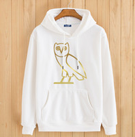 Wholesale 2016 Spring Gold OVO Owl hoodies streetwear mens OVOXO hip hop hooded pullover drake print high quality hoodie sweatshirt ZA152
