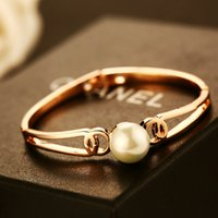 Wholesale For Women Gift Large Freshwater Pearl Charm Bracelet Gold Plated L Stainless Steel Double Layer Bracelets Bangle Hot Sale Jewelry