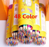 Wholesale 48 Color Student Stationery With Colored Pencil Art Colored Pencils Drawing Pencils Wood Pencils for Secret Garden Artist Sketch AG