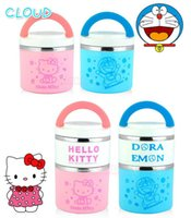 Cheap Metal Lunch Box stainless steel Doraemon Hello Kitty Kids Lunch Set Lunch Box For Kids Container Bento Tableware Set