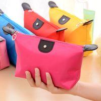 Wholesale 8 Colors candy Cute Women s Lady Travel Makeup storage hanging Cosmetic Bag Pouch Clutch Handbag Casual Purses Dumpling type purse SJM05251