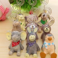 animal stake - Paper Note Wooden Paper Office Clip Office Supplies Card Holder Animal Stakes Photo Folder For Office accesorios escritorio