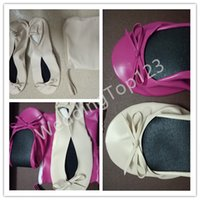 Slip-On ballerina flats sale - Hot Sale New Fashion Canvas stripe Fold up pumps women foldable shoes ballerina flats wedding party