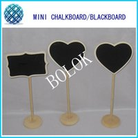 Wholesale Mini Wooden Chalkboards Blackboard on stick Stand Heart and Rectangle designs for table decoration