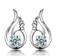 Wholesale Swarovski Studs Wholesale - Crystal Angel Wings Stud Earrings Swarovski Elements 30% 925 Sterling Silver Overlay Jewelry Women Bohemian Ear Jewelry Wedding Earrings