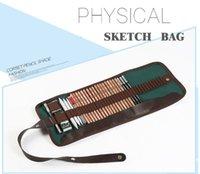 Wholesale holes Portable Professional Sketch Pencil bag Pencil case Extender Eraser pencil case Cutter Drawing Set Bag no pencil ASS029